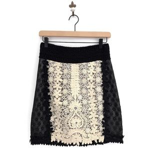Anthropologie Leifnotes Patchwork Lace Skirt Sz 0